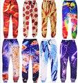 2017 pantalones casuales de la moda tocino cat/bespin/cosmic/tie dye/papas fritas/pizza de impresión 3d pantalones de chándal de los hombres/mujeres hip hop pantalones