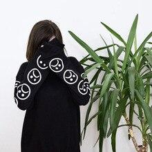 Sad Faces Emoticon Sleeves Printed Keyboard Sweatshirt Sweater Black White Tumblr Hoodies Winter Tracksuit Clothing
