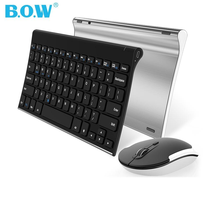 B.O.W Беспроводной клавиатуры и Мышь комбо, whisper-тихий 2,4 г металл Сверхтонкий Портативный Беспроводная клавиатура для настольного компьютера