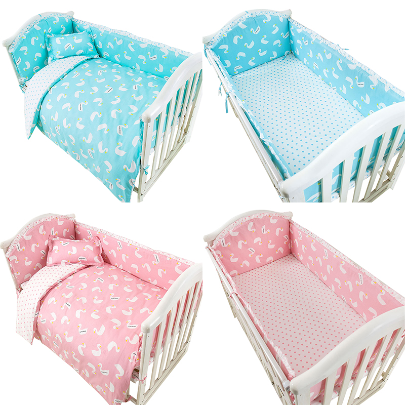 4pcs-7pcs Baby Bedding Set Bumper Cotton Swan Comfortable Newborn Crib Sheet Pillow Case Baby Bed Bumper Bedding Set