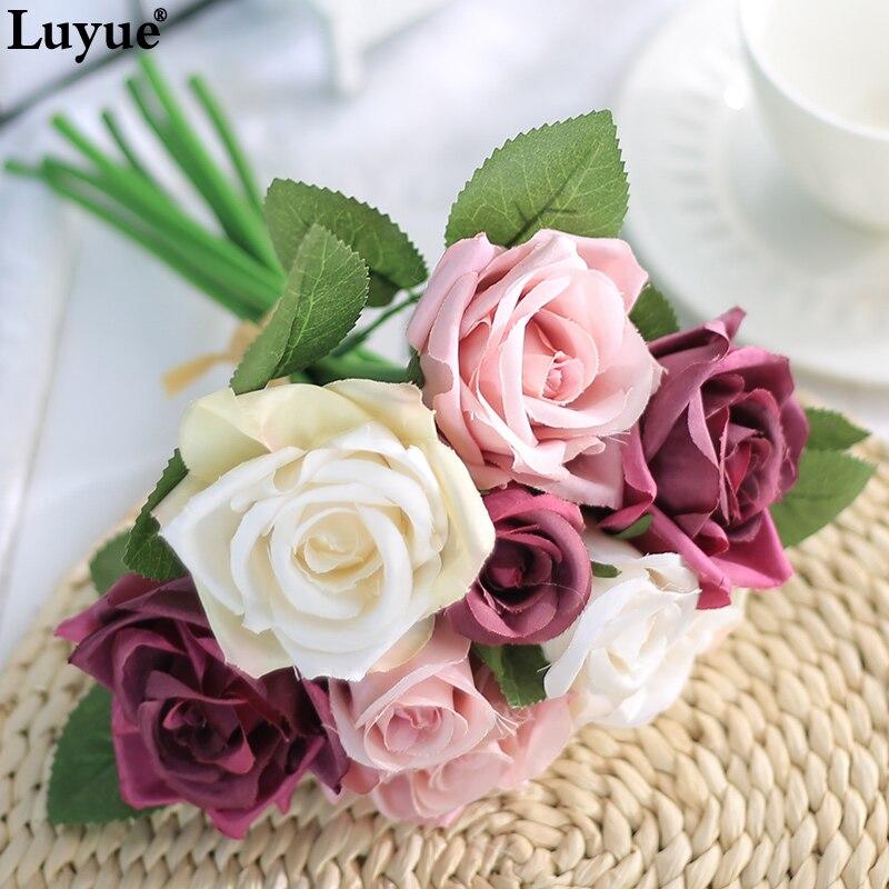 Luyue 16 couleurs 9 têtes Soie Artificielle Fleur De Mariage Mariée Bouquet Rose Fleur Faux Simulation Guirlande Guirlandes Usine Accueil Déco