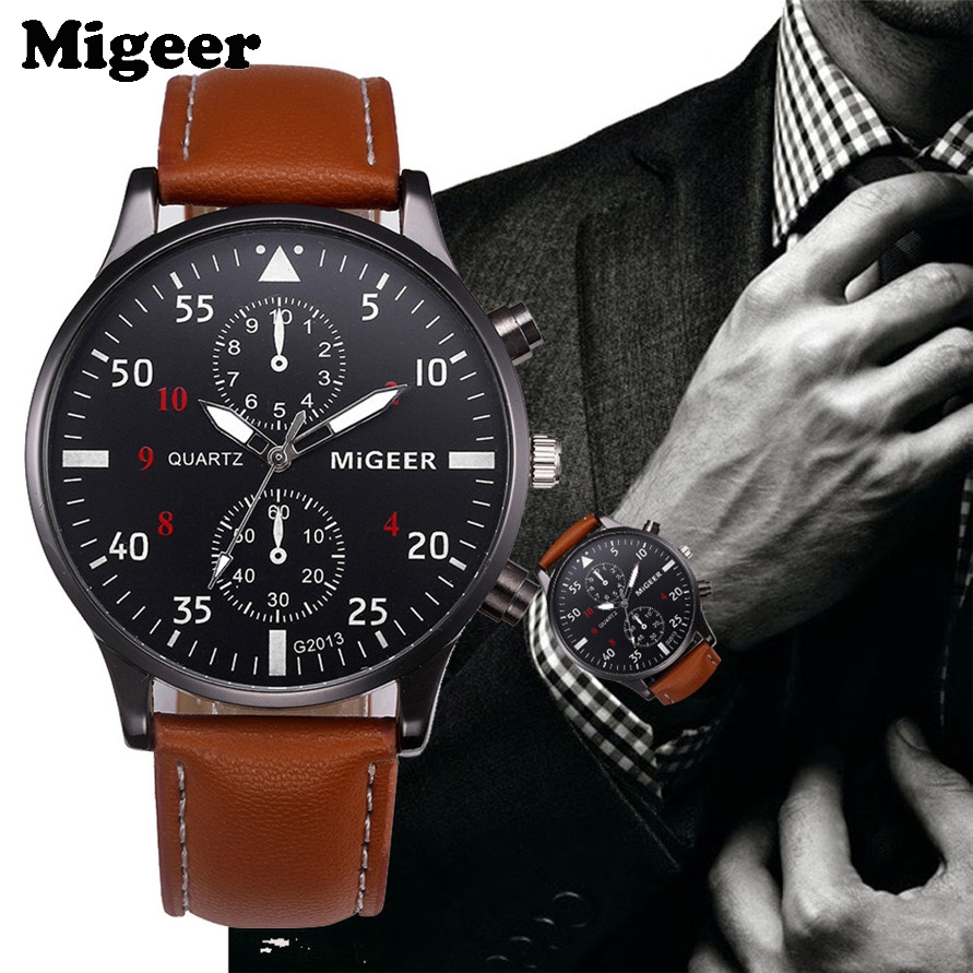 Watches MIGEER Willby Mens Fashion Leather Sports Bushiness Quartz Watch Drop Shipping 170310