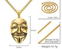 Anime Jewelry Punk Rock Necklace Pendant Men Long Chain Stainless Steel Gold Color Mask Design Cool Party Gift For Boyfriend