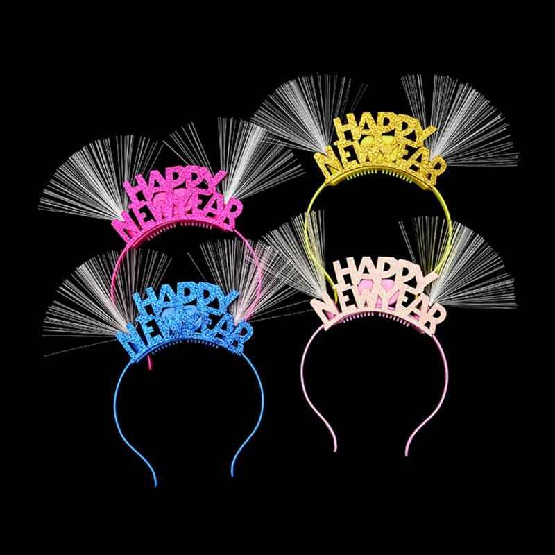 6Pcs HAPPY NEW YEAR Hair Hoops Elegant Headbands Fashion Headwrap Party Hair