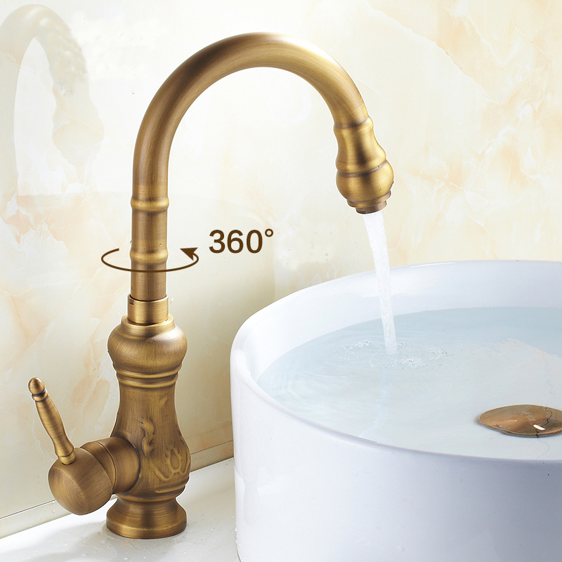 Antique brass bathroom basin faucet+tube hot and cold mixer water tap, 360 Rotated kitchen single hole dish basin faucet Whosale jomoo deck mounted brass basin faucet water outlet hole 360 degree rotate water tap single handle single hole hot and cold mixer
