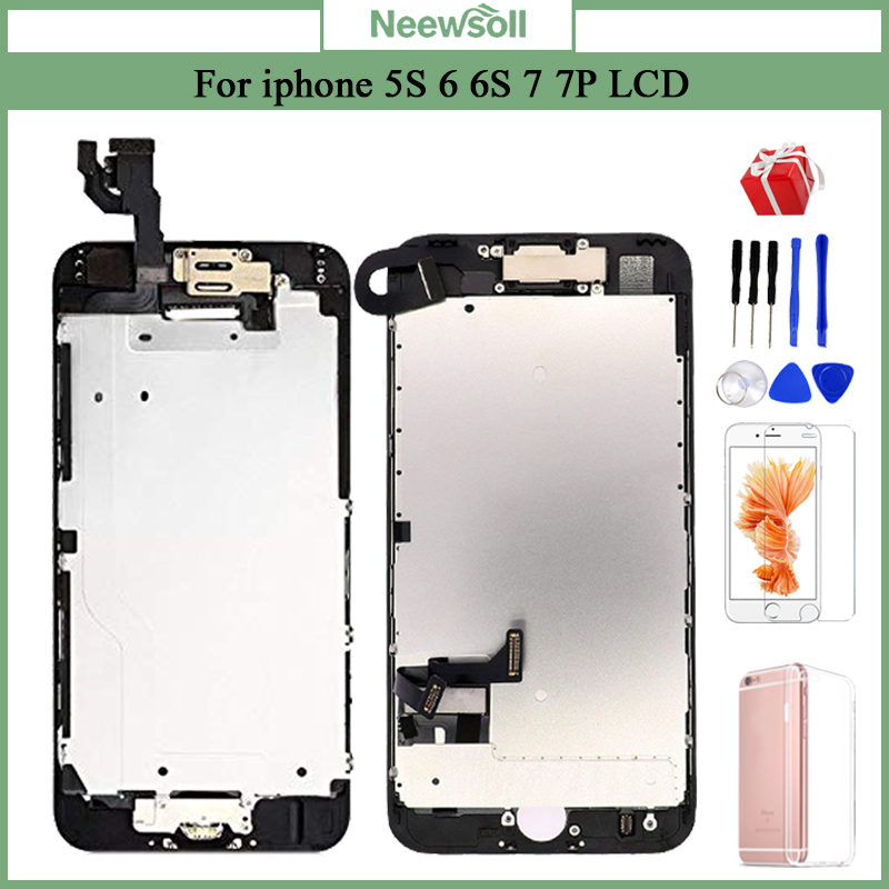 Complete LCD Or Full Assembly Display or Screen for iPhone 5S 6S 7 7P or for iphone 6 with Home Button and Front Camera image