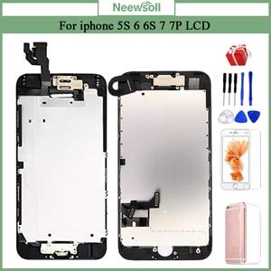 Image 1 - Kompletny wyświetlacz LCD lub komplet lub ekran dla iphone 5S 6S 7 7P lub dla iphone 6 z przyciskiem Home i przednim aparatem