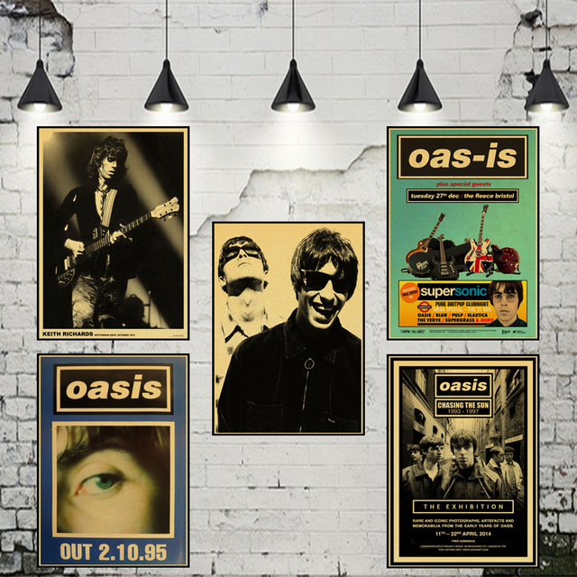 Oasis liam gallagher nostalgia retro rock band music kraft paper poster bar cafe living room dining