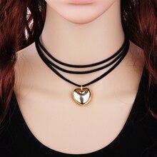 Многослойные Черный Кожаный Веревку Цепи Ожерелье Женщины Мода Velvet Choker Ожерелье Сердце Сплава Кулон Одежда Аксессуары