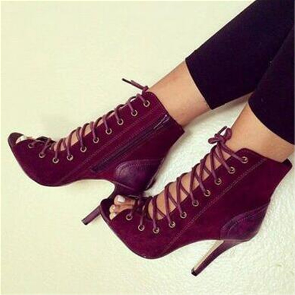 Post Free beautiful beautiful burgundy suede, open-toed fish head, cross lacing, 11 cm high-heeled cool boots. Size: 35-43