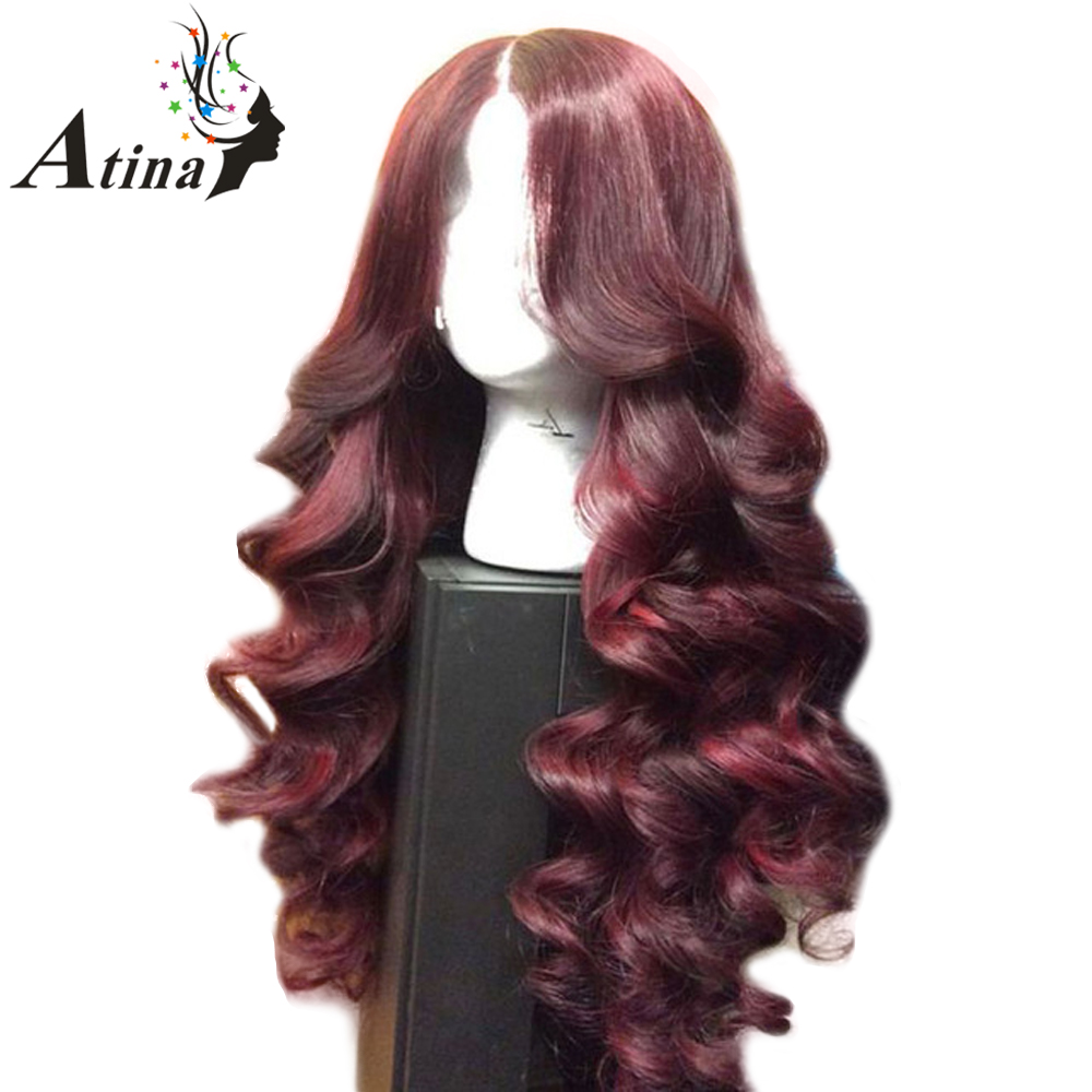 250 High Density 99J Burgundy Front Lace Wig Red Human Hair 13X6 Deep Parting Lace Front