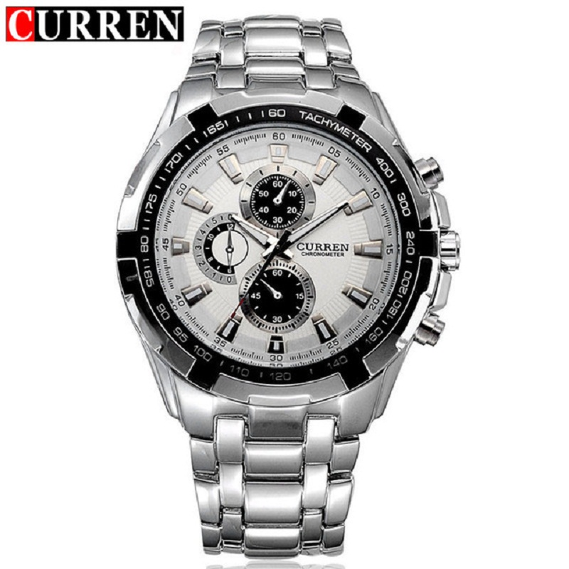 CURREN Top Brand Stainless Steel Men Waterproof Wristwatch Fashion Boys Watches Luxury Quartz Sport Watch Relogio Masculino 8023 weide japan quartz watch men luxury brand leather strap stainless steel buckle waterproof new relogio masculino sport wristwatch