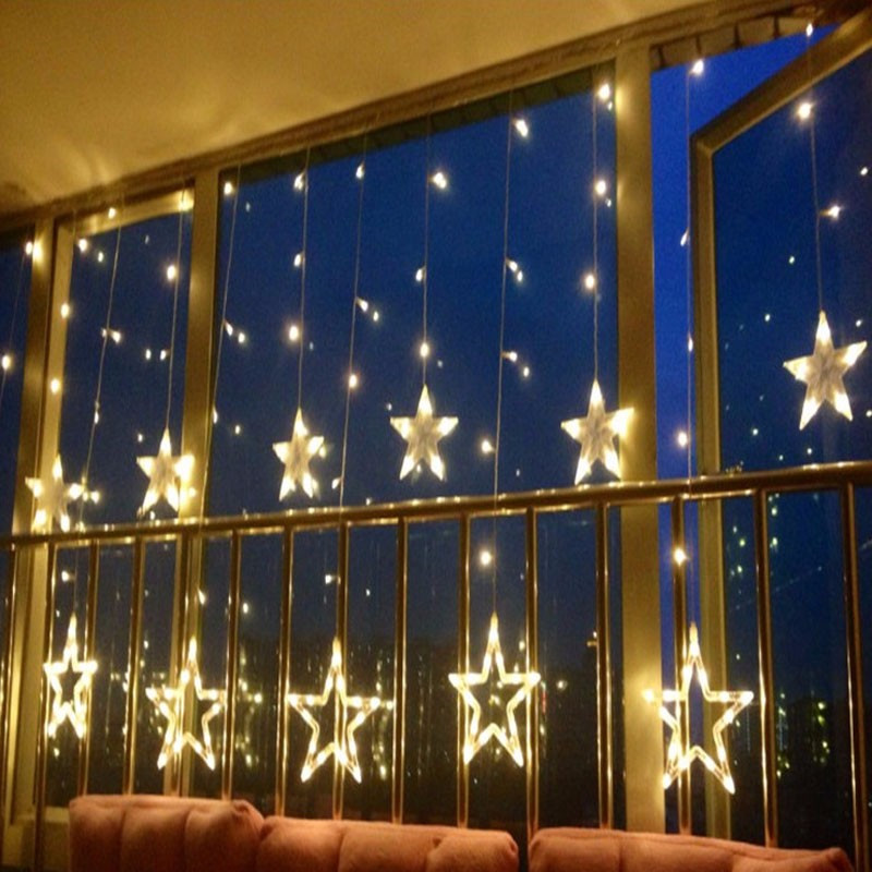 Ano novo Decorações De Natal para Casa Ao Ar Livre Luzes de Led String Branco Quente Natal Navidad Decoração 12 Estrelas Decoração Da Lâmpada. Q