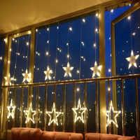 Decorações de natal de ano novo para luzes de casa ao ar livre led string branco quente navidad natal decoração da lâmpada 12 estrelas. q