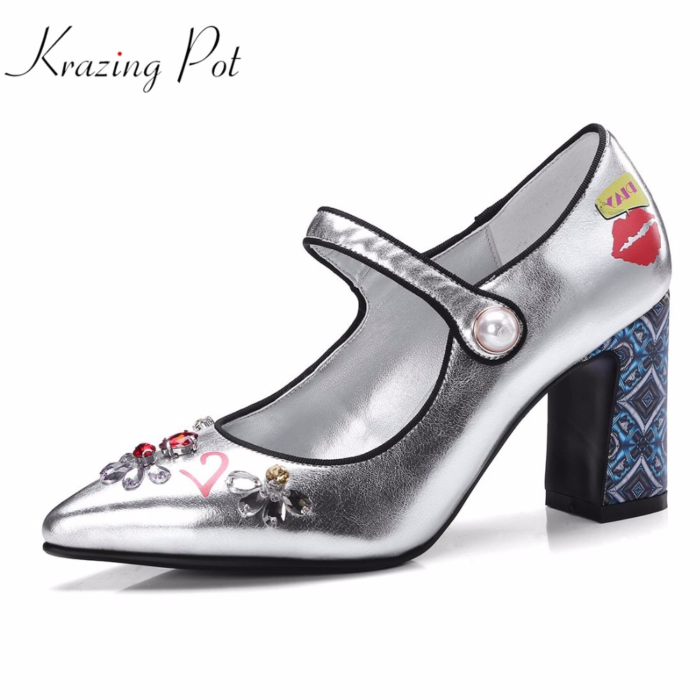 Krazing pot brand shoes pointed toe high heels ankle straps flowers patterns color rivets women party luxury wedding pumps L12 krazing pot shallow fashion brand shoes genuine leather slip on pointed toe preppy office lady thick high heels women pumps l18
