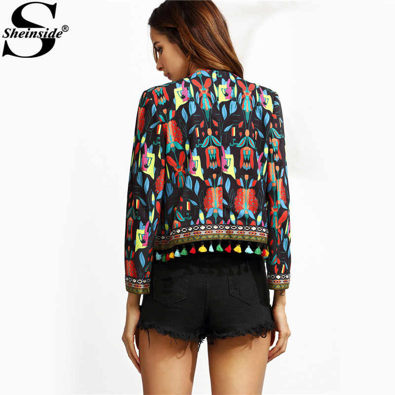 1a3f458918 ... Sheinside Black Tribal Print Tassel Trim Outerwear With Embroidered  Tape Detail Fall Women Long Sleeve Coat ...