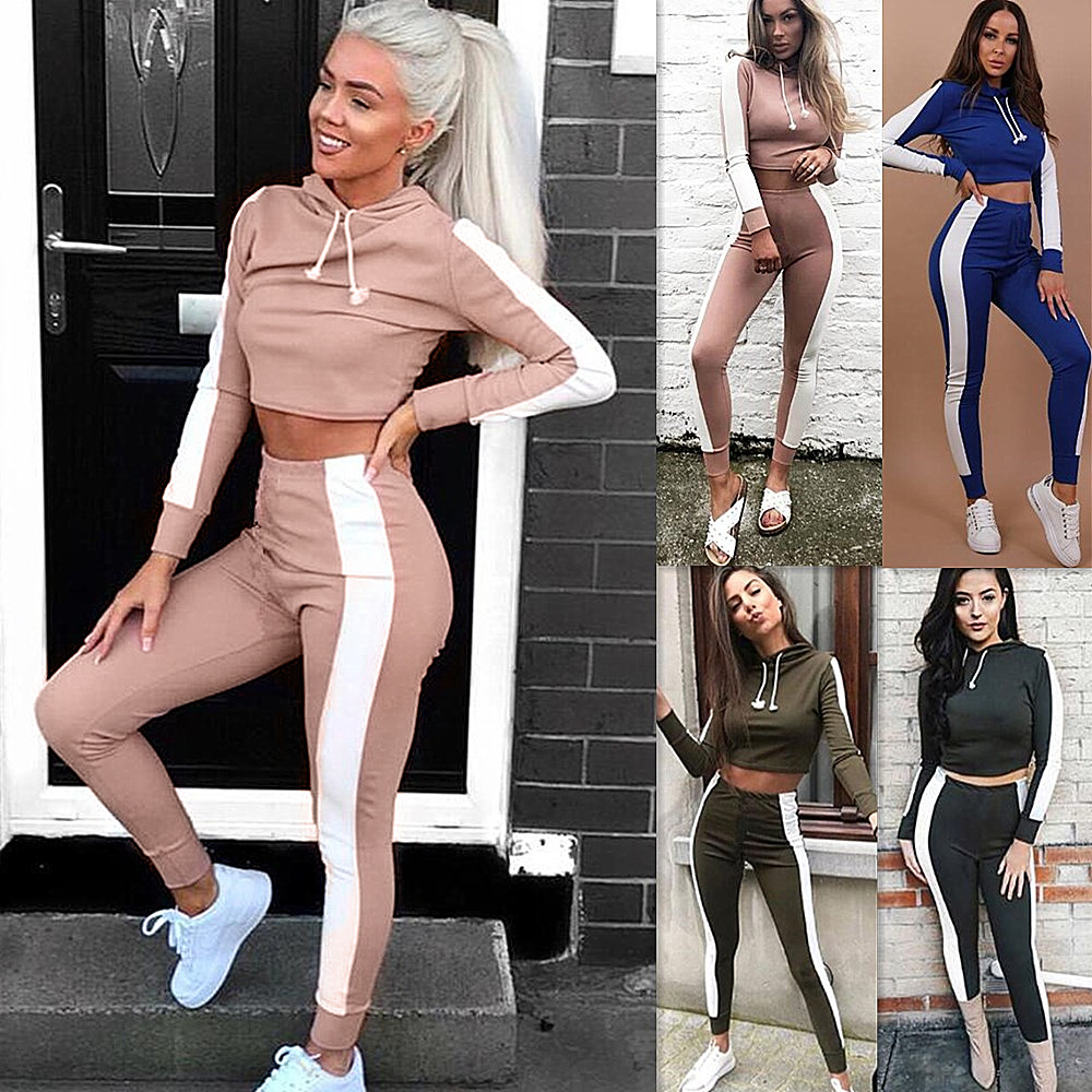 Striped Hooded Long Sleeve Two Piece Set Drawstring Short Shirt Women Tracksuit Bodycon Long Pants Women Suits