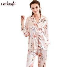 7b454e1e4a Fdfklak europea nueva pijamas de seda mujeres de manga larga Pijama Set  elegante impresión pijamas primavera otoño Homewear Trac.
