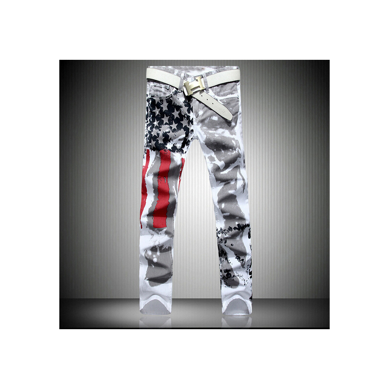2017 New Arrival Brand Pants Men's Ripped Slim Fit Tapered Leg Jeans Mens Jeans Elastic Printing American Flag Jeans Hombre inc new gray white tie dye women s 16 tapered leg soft pull on pants $69 364
