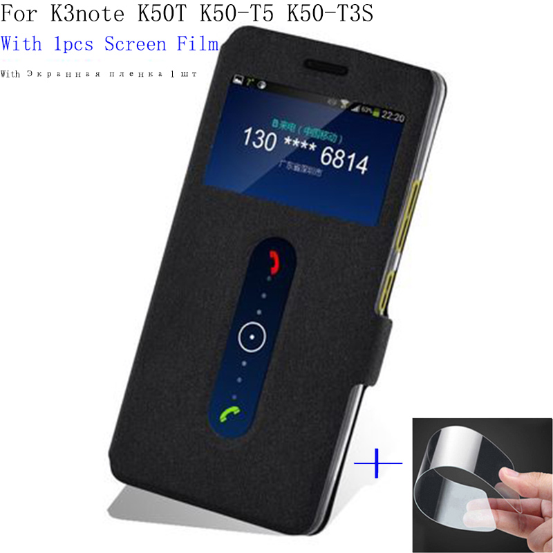 Protect <font><b>battery</b></font> <font><b>cover</b></font> For <font><b>Lenovo</b></font> K3note K50T K50-T5 K50-T3S case PU leather case flip <font><b>cover</b></font> with view window for <font><b>K3</b></font> note shell image