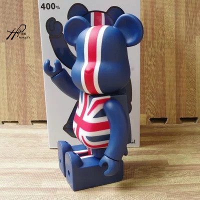 Hot Sale Bearbrick British Style 400% Large Size Decoration Doll 28cm W/ Original Box hot selling oversize 1000% bearbrick luxury lady ch be rbrick medicom toy 52cm zy503