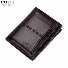 VICUNA POLO Luxury Waxy Genuine Leather Wallet For Men With Independent Card Holder Casual Real Leather Men Wallets Zipper Purse