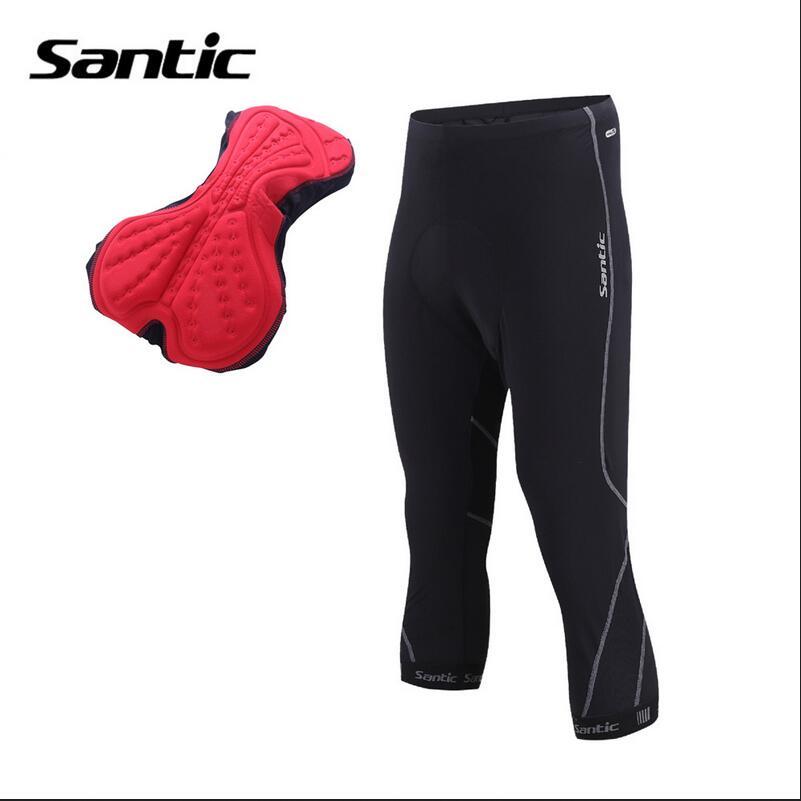 Santic Men Cycling Shorts 3 4 Women 3D Anti Slip Padded MTB Shorts Breathable Mesh Bottoms