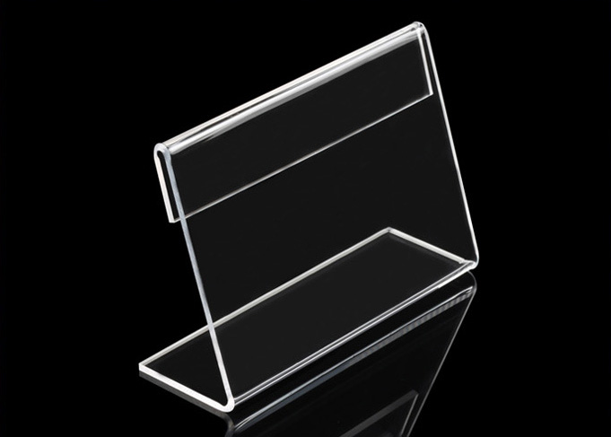 9x6cm 8x5cm 20pcs L-shape Acrylic Table Sign Price Tag Label Display Paper Promotion Card Holders Desk Label Card Frame Rack