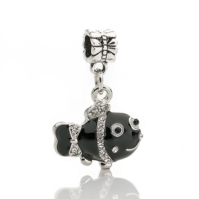 2018 free shipping Black clownfish Pendant european hanging beads charm Fits European Pandora Charm Bracelets & Necklaces DIY