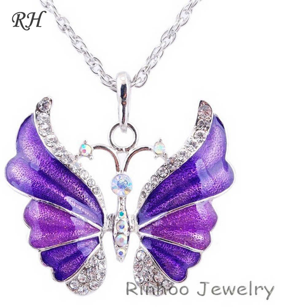 Tibetan Butterfly Necklace Alloy Enamel Butterfly Pendant Necklaces Suspension Silver Plated Vintage Necklace For Women Jewelry