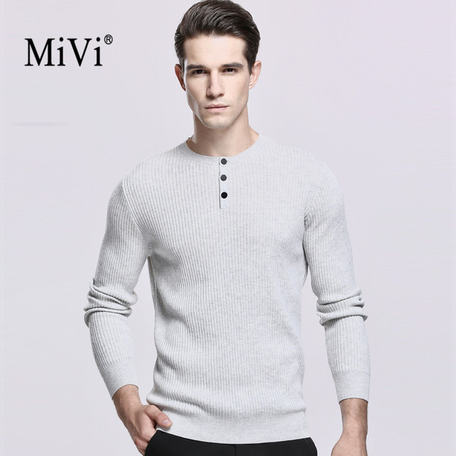 af4c581f9 MIVI Brand Newest Men Cashmere Sweater Buttons Round neck Long ...