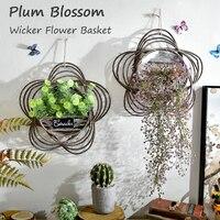 1 Set Lavender Plant Wall Mounted Plum Blossom Shaped Wicker Basket Artificial Flowers Wedding Home Shop