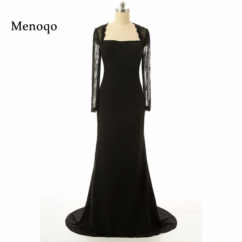 Real Photo Sexy Mermaid Lace long sleeve Back Bow Black Chiffon Long Prom Evening Dress Party Gowns 2018 New Arrival