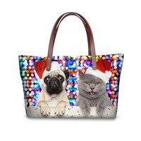 INSTANTARTS Funny Pug Dog Cat Print Women Big Shoulder Bag Merry Christmas Gift Lady Beach Bag
