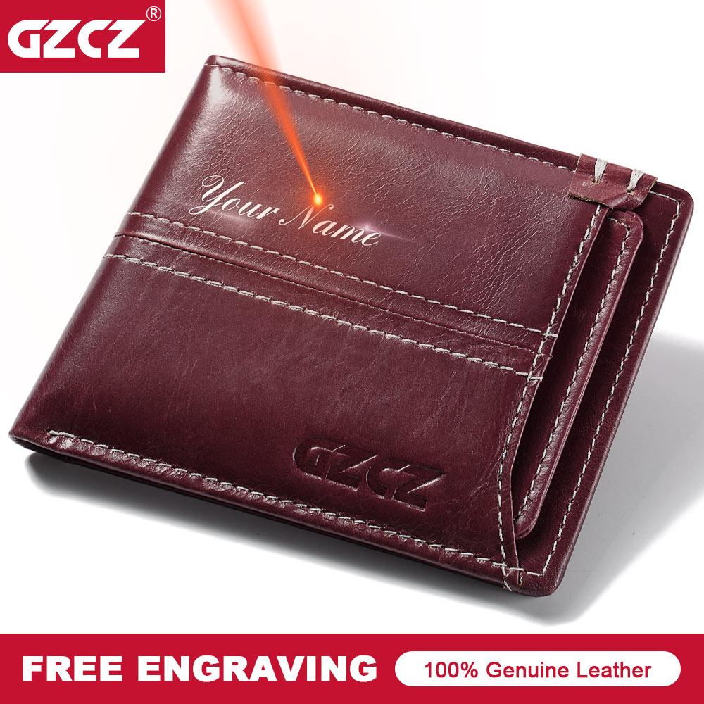 GZCZ Brand Free Engraving Mini Girl Wallet Short Bifold Walet Genuine Leather Women Purse Dollar Price Organizer Small Money Bag