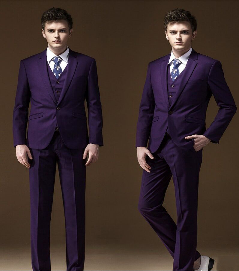 Pure Purple Mens Suit For Terno Slim Fit Blazer Men 2015 Satin ...