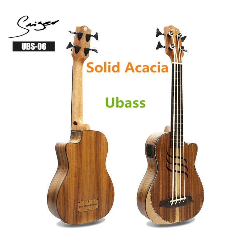Guitare électrique en Acacia massif ukulélé basse Fretless 30 pouces Ubass 30 pouces 4 cordes Mini UKU guitare électro pick-up Sculpture
