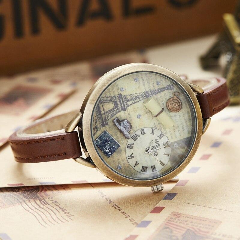 Miss Keke 3d Clay Leuke Mini Wereld Eiffeltoren Armband Horloges - Dameshorloges - Foto 3