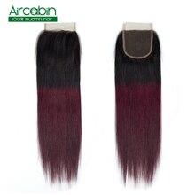 Closure Brazilian Straight Hair 4X4 Lace Closure 100% Human Hair 1B 99J Free Middle Three Part Hair 8-18 Inch Aircabin Non Remy