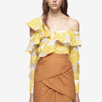 2017 Summer Self Portrait Blouses Women Yellow Embroidery Jacquard Frills Shirts Ruffle Sheer Lace Off The