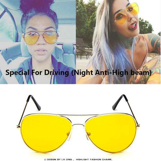 Pilot Night Vision glasses Driving Yellow Lens Classic Anti Glare Vision Driver Safety glasses For Women Men nachtbril gafas de