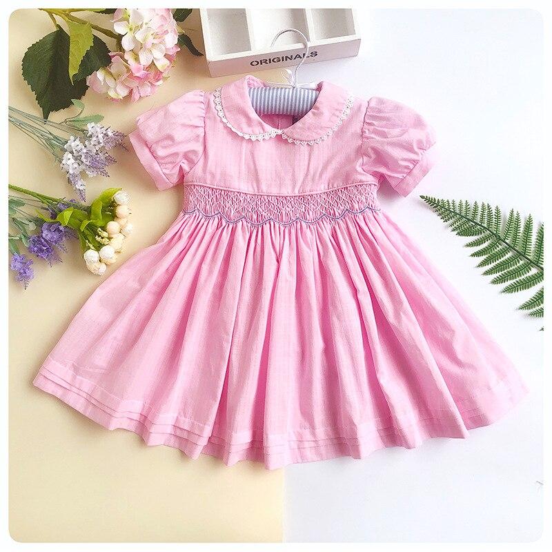 Enfants smocké robes fille fête enfant en bas âge princesse mariage école smocks Floral enfants robe G102