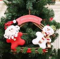 2 unids/lote Claus Muñeco de nieve de Navidad Que Cuelga de La Puerta placa de la Tela Decoraciones Para El Hogar Que Cuelga Del Árbol de Navidad Decoración de Navidad Ornam