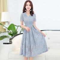 Koreanische Version Mode Spitze Frau Kleider 2018 Neue Sommer Zeug Kurzarm Dünne V-ausschnitt Und Plus Größe Bürodame Kleid