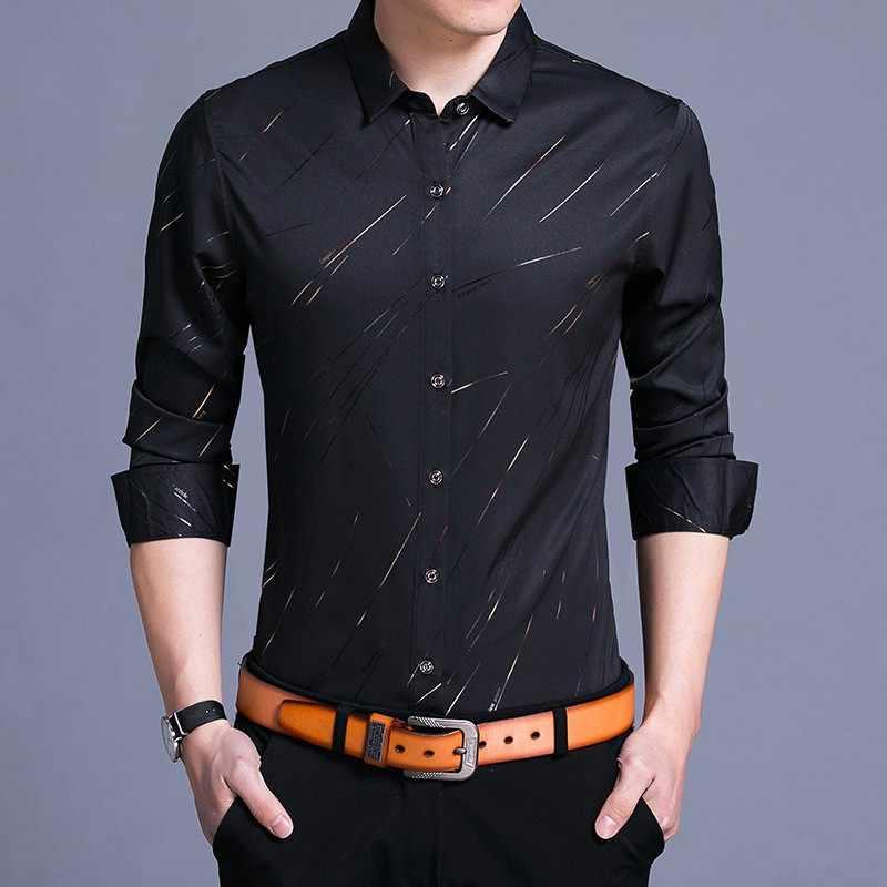 MIACAWOR 2019 春のメンズシャツファッション印刷ソーシャルフルスリーブカミーサ Masculina カジュアル男性服 C414