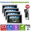 Homefong 7inch Video Door Phone Intercom Doorbell Home Security Entry Intercom  1 Camera 1200TVL 4 Door Monitor Access Kit