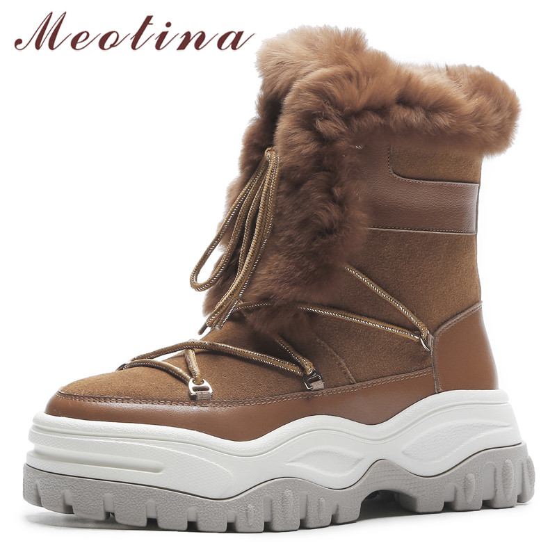 Meotina Real Fur Snow Boots Women Natural Genuine Leather Flat Platform Ankle Boots Warm Wool Lace Up Shoes Lady Winter Size 40