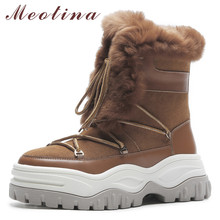 Meotina Real Fur Snow Boots Women Natural Genuine Leather Flat Platform Ankle Boots Warm Wool Lace Up Shoes Lady Winter Size 40 67 2v 1 5a charger 60v 1 5a power adapter for 60v 16s lithium li ion e bike bicycle electric bike battery 3 prong inline