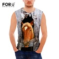 Forudesigns mens tanque o pescoço tops roupas de verão masculino sem mangas 3d impressão cavalo louco homem vestuário cinza coletes plus size s-xxl