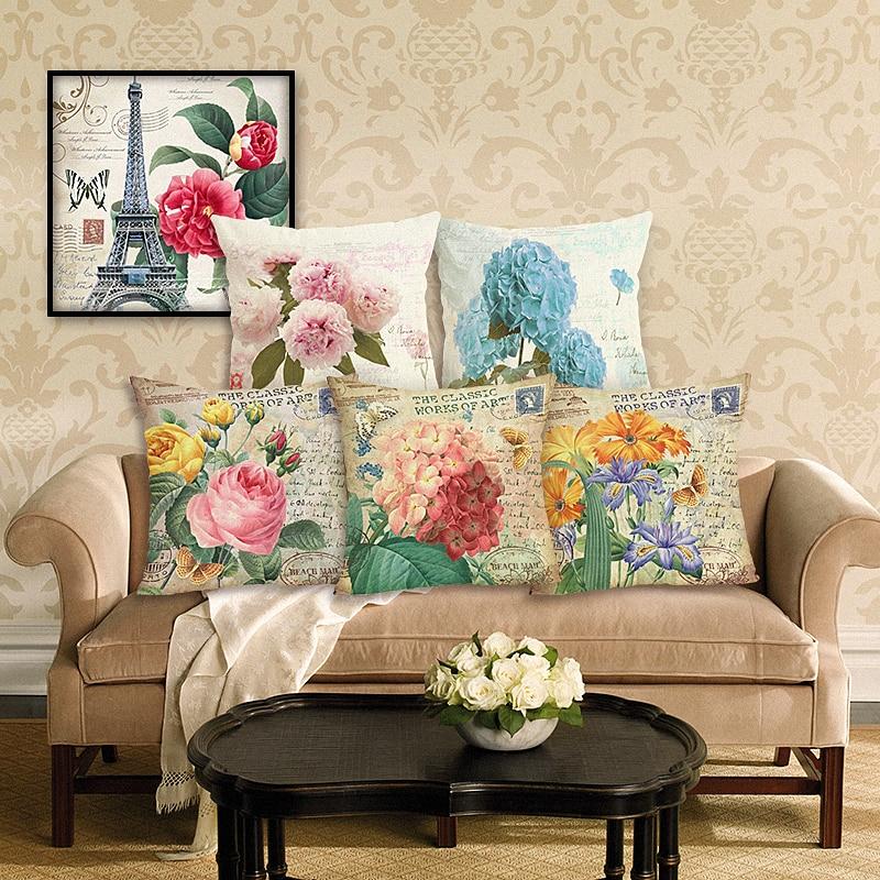 Αρχική διακόσμηση Vintage λουλούδια καναπέ μαξιλάρι κάλυψη διακοσμητικές θήκες καναπέ ρίψη μαξιλαριού υπόθεση τυπωμένα βαμβακερά λινό τετράγωνο περιπτώσεις